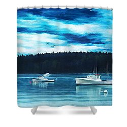 Maine Harbor Shower Curtain by Darren Fisher