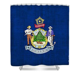 Maine State Flag Shower Curtain by Pixel Chimp