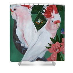 Major Mitchell Cockatoos Shower Curtain by Debbie LaFrance