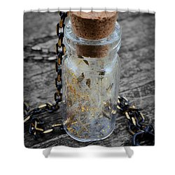 Make A Wish - Dandelion Seed In Glass Bottle With Gold Fairy Dust Necklace Shower Curtain by Marianna Mills