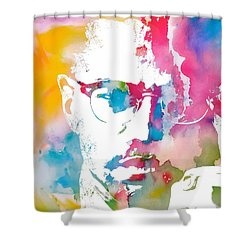 Malcolm X Watercolor Shower Curtain by Dan Sproul