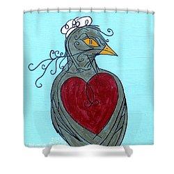 Mama Bird Detail Shower Curtain by Genevieve Esson