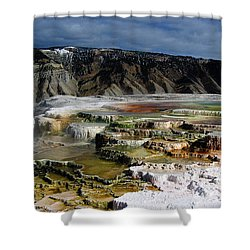 Mammoth Hot Springs Shower Curtain by Robert Woodward