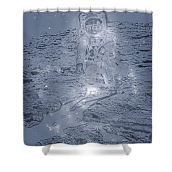 Man On The Moon Shower Curtain by Dan Sproul