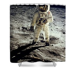 Man On The Moon Shower Curtain by Neil Armstrong/Underwood Archive