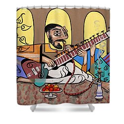 Man Playing A Sitar Shower Curtain by Anthony Falbo