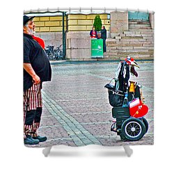 Man Singing In Senate Square In Helsinki-finland Shower Curtain by Ruth Hager