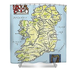 Map Of Ireland Shower Curtain by English School