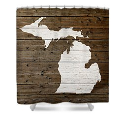 Map Of Michigan State Outline White Distressed Paint On Reclaimed Wood Planks Shower Curtain by Design Turnpike