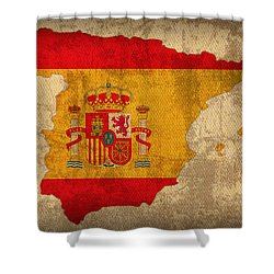 Map Of Spain With Flag Art On Distressed Worn Canvas Shower Curtain by Design Turnpike