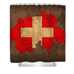 Map Of Switzerland With Flag Art On Distressed Worn Canvas Shower Curtain by Design Turnpike