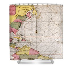 Map Of The Atlantic Ocean Showing The East Coast Of North America The Caribbean And Central America Shower Curtain by French School