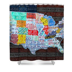 Map Of The United States In Vintage License Plates On American Flag Shower Curtain by Design Turnpike