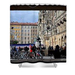 Mareinplatz And Glockenspiel Munich Germany Shower Curtain by Imran Ahmed