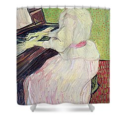 Marguerite Gachet At The Piano Shower Curtain by Vincent Van Gogh
