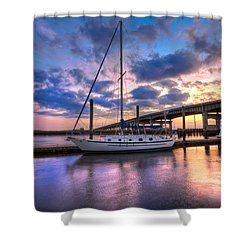 Marina At Sunset Shower Curtain by Debra and Dave Vanderlaan