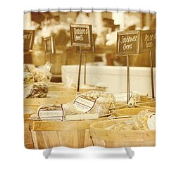 Market Day Shower Curtain by Kim Hojnacki