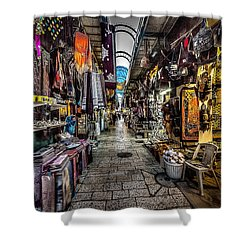 Market In The Old City Of Jerusalem Shower Curtain by David Morefield
