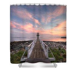Marshall Point Sunset Shower Curtain by Lori Deiter