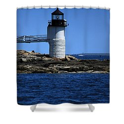 Marshall Point Surrounded By Blue Shower Curtain by Karol Livote