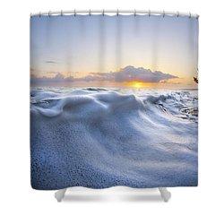 Marshmallow Tide Shower Curtain by Sean Davey