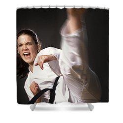 Martial Arts Kick Shower Curtain by Don Hammond