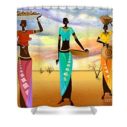 Masai Women Quest For Grains Shower Curtain by Bedros Awak