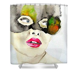 Mask In Watercolor Shower Curtain by Jacqueline Schreiber