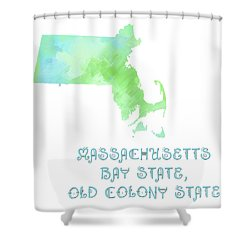 Massachusetts - Bay State - Old Colony State - Map - State Phrase - Geology Shower Curtain by Andee Design