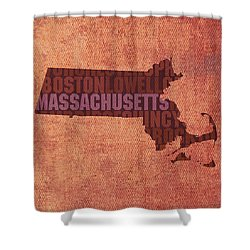 Massachusetts Word Art State Map On Canvas Shower Curtain by Design Turnpike