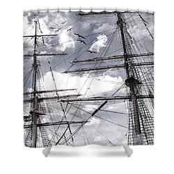 Masts Of Sailing Ships Shower Curtain by Evie Carrier