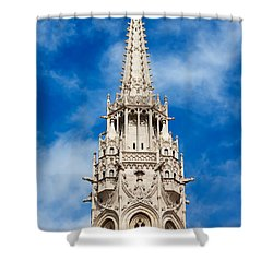 Matthias Church Bell Tower In Budapest Shower Curtain by Artur Bogacki