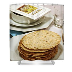 Matza And Haggada For Pesach Shower Curtain by Ilan Rosen