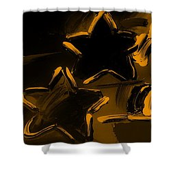 Max Two Stars In Orange Shower Curtain by Rob Hans