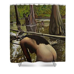May Morning Arkansas River  2 Shower Curtain by Thu Nguyen