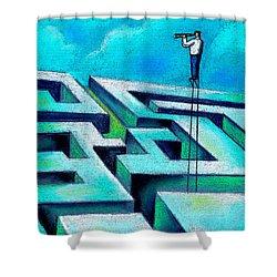 Maze Shower Curtain by Leon Zernitsky