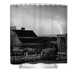 Mcintosh Farm Lightning Thunderstorm Black And White Shower Curtain by James BO  Insogna