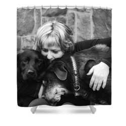 Me And My Pals Shower Curtain by Guy Whiteley