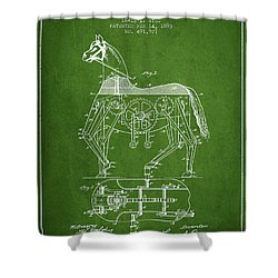 Mechanical Horse Patent Drawing From 1893 - Green Shower Curtain by Aged Pixel