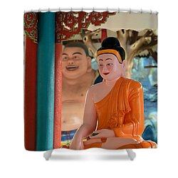 Meditating Buddha In Lotus Position Shower Curtain by Imran Ahmed