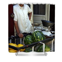 Melon Seller Old Medina Fez Morocco Shower Curtain by Ralph A  Ledergerber-Photography