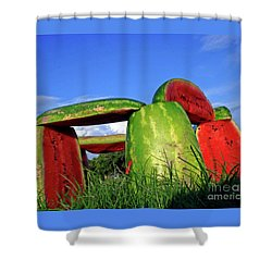 Melonhenge Shower Curtain by Joe Jake Pratt