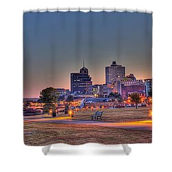 Cityscape - Skyline - Memphis At Dawn Shower Curtain by Barry Jones