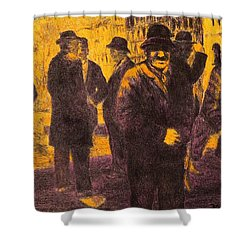 Men In Orange Light Shower Curtain by Kendall Kessler