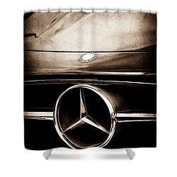 Mercedes-benz Grille Emblem Shower Curtain by Jill Reger