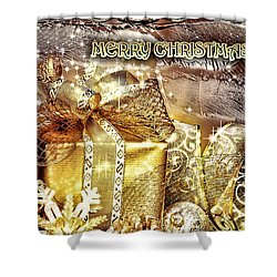 Merry Christmas Gold Shower Curtain by Mo T