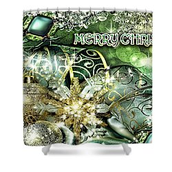 Merry Christmas Green Shower Curtain by Mo T