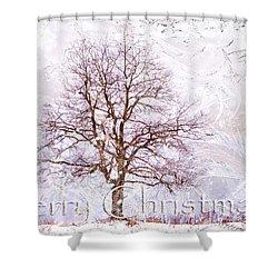 Merry Christmas Shower Curtain by Jenny Rainbow