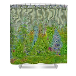 Meshed Tree Abstract Shower Curtain by Liane Wright