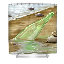 Message Shower Curtain by Veronica Minozzi